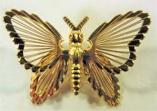 Butterfly Brooch Pin Monet Signed Gold Tone