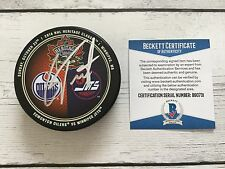 Cam Talbot Signed 2016 Heritage Classic Oilers Hockey Puck Beckett BAS COA a