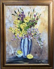 Bouquet De Fleurs Et Fruits Signé Monique Boffy ( Beffy ?) Hst Matière Relief