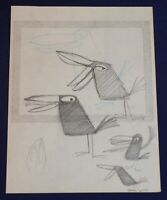 Walt Disney Studio T HEE Tropical Black Bird Original Long Billed Pencil Drawing