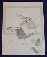 Walt Disney Studio T HEE Tropical Black Bird Original Long Billed Pencil Drawing