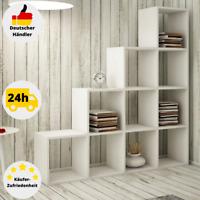 Treppenregal Raumteiler Stufenregal Weiß Bücherregal Standregal Regal 10 Fächer