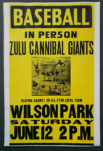 Vintage 1930's Zulu Cannibal Giants Baseball Promo Sign Negro League 14x 20.75