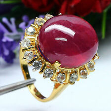 NATURAL 14 X 16mm. OVAL CABOCHON RED RUBY & WHITE TOPAZ RING 925 STERLING SILVER