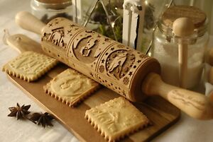 Nativity Engraved Rolling Pin Merry Christmas Embossed Dough Roller Rolling