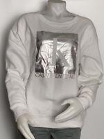 Women's sweatshirt Pullover Size M White Calvin Klein Jeans silver logo CJ9T1093