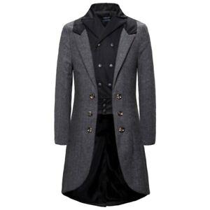 Men' Woolen Jacket Double Breasted Trench Coat Tailcoat Lapel Blazer Slim Fit L