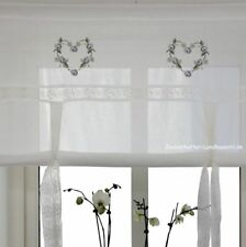 Raff Gardine HEART BLAU 140 cm breit Shabby Chic Vintage Curtain