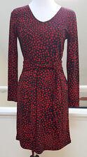 DKNY Red Black Polka Dot Print Tie-Waist Long-Sleeve Dress, Size P