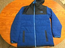 MENS THE NORTH FACE BLUE REVERSIBLE NYLON FLEECE HOODED JACKET COAT SIZE SMALL
