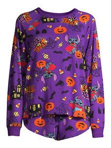 NWT Womens Disney Lilo Stitch Pajamas Shirt Pants L 12 14 Candy Corn Cat Pumpkin
