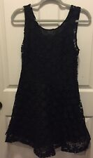 NWT Just Me Black Lace Sheath Dress Flower Tule Large Womens Cocktail