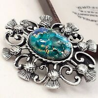 Vintage Green & Blue Glass Fire Opal - Scottish Thistle Celtic Brooch Pin