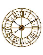 Black & Gold Iron Metal Skeleton Wall Clock w Roman Numerals 76cm