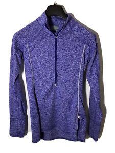 Athleta Women's Size S- Running Wild 1/2 Zip Pullover Top In Purple/Gray-NEW