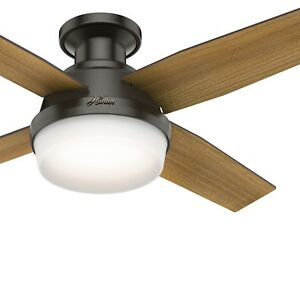 "Hunter Fan 44"" Contemporary Low Profile Noble Bronze Ceiling Fan with LED Light"