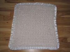 MAISON CHIC BABY BLANKET CREAM IVORY WHITE SWIRL FUR RUFFLE SATIN