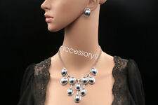 wedding party gray lucite bead statement collar chain necklace drop earrings N90