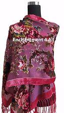 Elegant Pink Vintage Floral 100% Silk Burnout Velvet Oblong Shawl Wrap Scarf