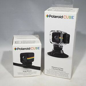 Polaroid Cube Waterproof Case & Suction Mount AND Strap Mount NIB