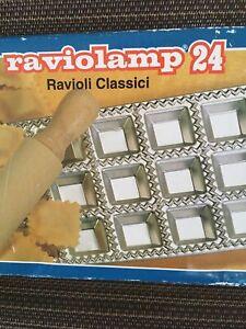 VTG Made in Italy RAVIOLAMP 24 Ravioli Press Mold & Wood Rolling Pin NIB