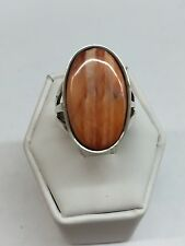 Native American Navajo Sterling Silver Orange Spiny Oyster Ring Size 6 1/2