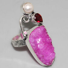 Handcrafed Huge Rare Agate Druzy, Garnet, Pearl Silver Ring 10 Gift