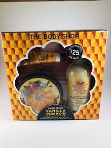 NEW The Body Shop 3 Pc VANILLA PUMPKIN Butter Shower Gel Hand Cream