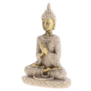 Sandstein Sitzend Buddha Figur Fengshui Deko Skulptur Dekofigur, aus Sandstein