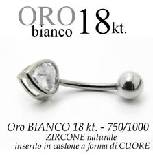 Piercing ombelico belly ORO BIANCO 18kt. a CUORE BRILLANTE white gold 18kt.
