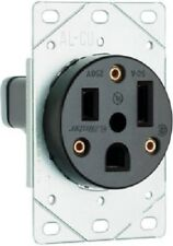 Pass & Seymour 50A, 250V, Black, 2 P 3 Wire Grounding, Flush Mount Power Outlet