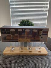 American Vintage Style 5 Piece Wood & Glass Flight Beer Tasting Set Open Box