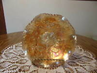 CARNIVAL GLASS MARIGOLD BOWL WITH ROSES