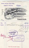 THE SIMPSON LABEL COy.Edinburgh Logo 1905 W/Proof Labels Audited Invoice Rf49207