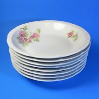 Victoria Austria Soup Bowls Set of 8 Pink Flowers Peony Peonies Vintage Bowl
