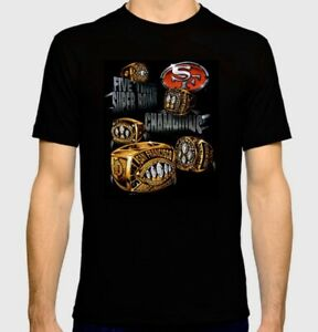 San Francisco 49ers Custom T-Shirt With 5 Time Super Bowl Championship Rings