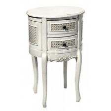 Stunning Round Rattan Style Antique White 2 Drawer Bedside Table Drawers Cabinet