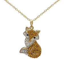RED FOX VULPES VULPES CRYSTAL 14K YELLOW GOLD OVER BRASS NECKLACE