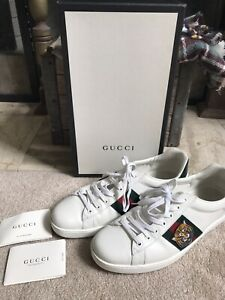 GUCCI men's ace sneakers with Tiger face - white - size 11 / US 11 1/2 11.5