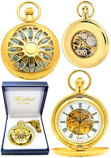 Woodford Half Hunter Skeleton Pocket Watch GP with Free Engraving (1029)