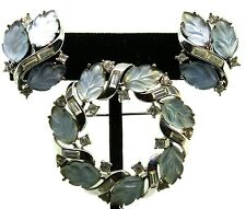 Vtg TRIFARI Fruit Salad Carved Glass Leaves Rhinestone Brooch Pin Earrings Set