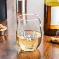 Custom Engraved Personalized 17oz Stemless Wine Glass Bridesmaid Wedding Gifts