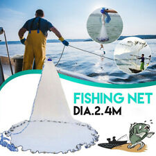 Hand Cast Fishing Net Spin Network Easy Throw Bait Nylon Mesh 8ft  + Sinker`
