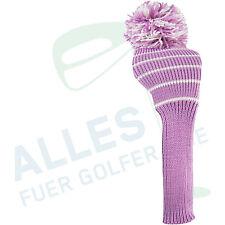 Klassische Schlägerhaube aus Strickgarn pink mit weißen Streifen, neu