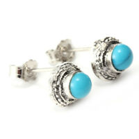 Women's Wedding 925 Silver Filled Earrings Turquoise Ear Stud Hoop Dangle Party