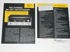 McIntosh MR-71 Tuner Brochure 2 pages, Specs, Info, Articles, MR71
