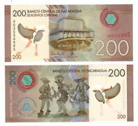 NICARAGUA 200 Cordobas POLYMER Banknote (2014) P-213 A Prefix Paper Money UNC