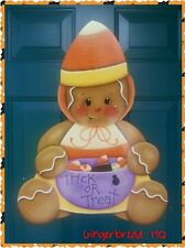 HP wooden  halloween wall hanging gingerbread in costume holding a bowl