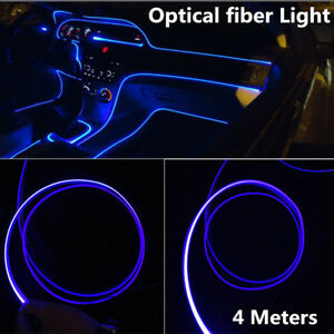 Car Interior Blue LED Decorative Lamp Optical Fiber Light Dash Trim Door Light