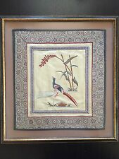 Fine Old Vintage Antique Chinese Silk Embroidery Panel Art Bird Flowers Framed